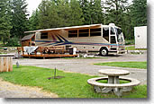 Class a motorhome in a deluxe campsite in Montana