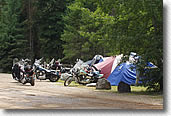 Motorcycle group camping in Whitefish